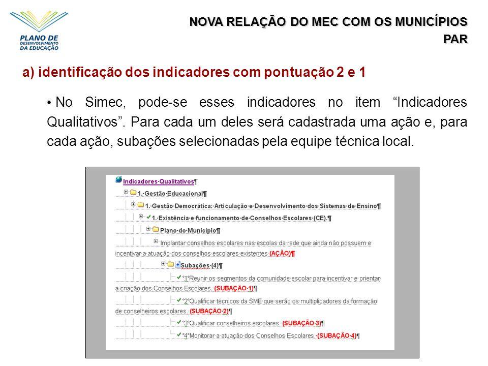 a) identificação dos indicadores com pontuação 2 e 1