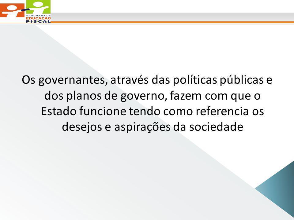 Os governantes, através das políticas públicas e dos planos de governo, fazem com que o Estado funcione tendo como referencia os desejos e aspirações da sociedade