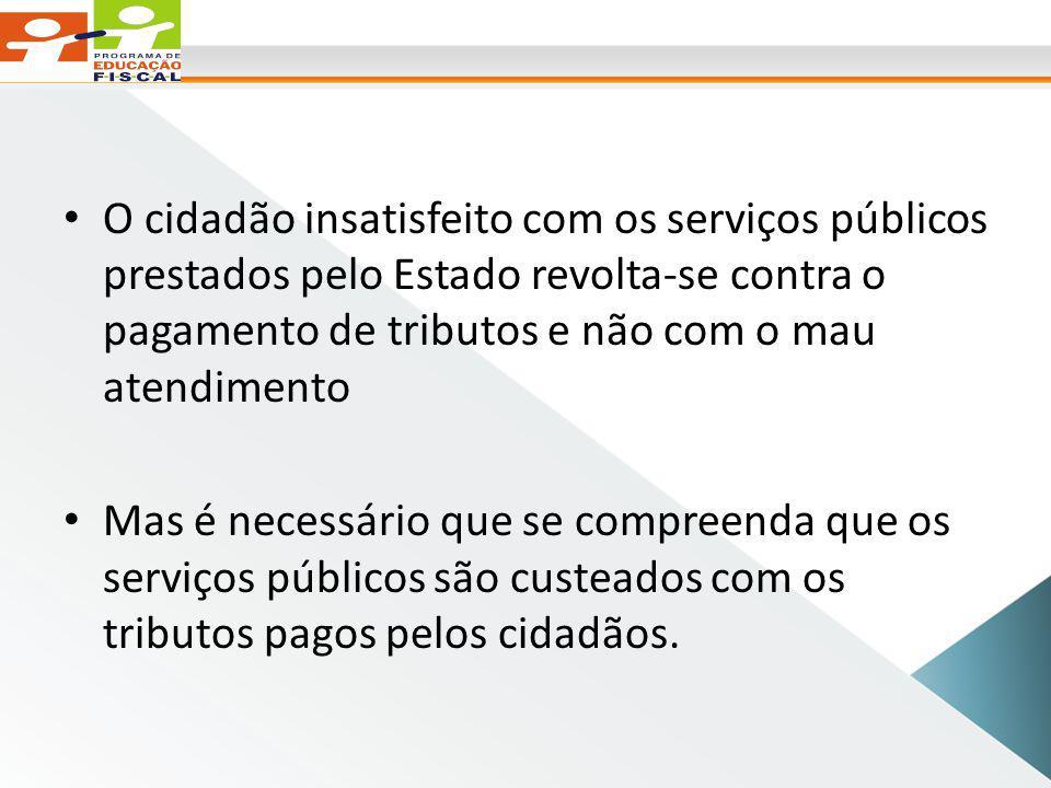 O cidadão insatisfeito com os serviços públicos prestados pelo Estado revolta-se contra o pagamento de tributos e não com o mau atendimento
