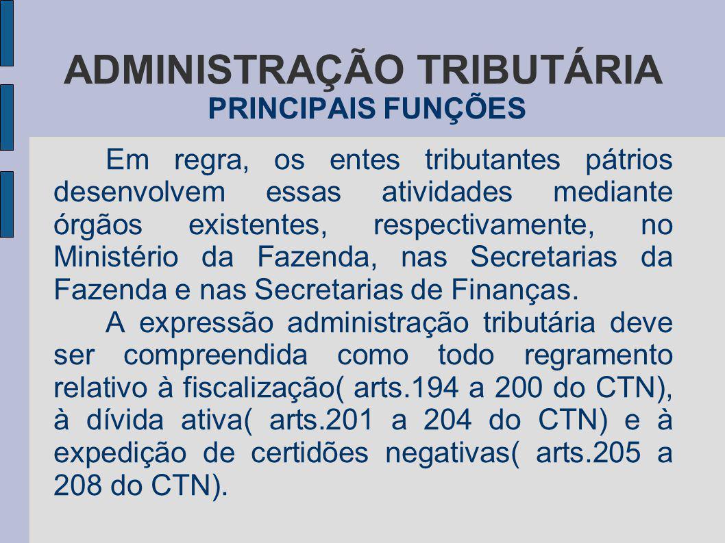 ADMINISTRAÇÃO TRIBUTÁRIA PRINCIPAIS FUNÇÕES