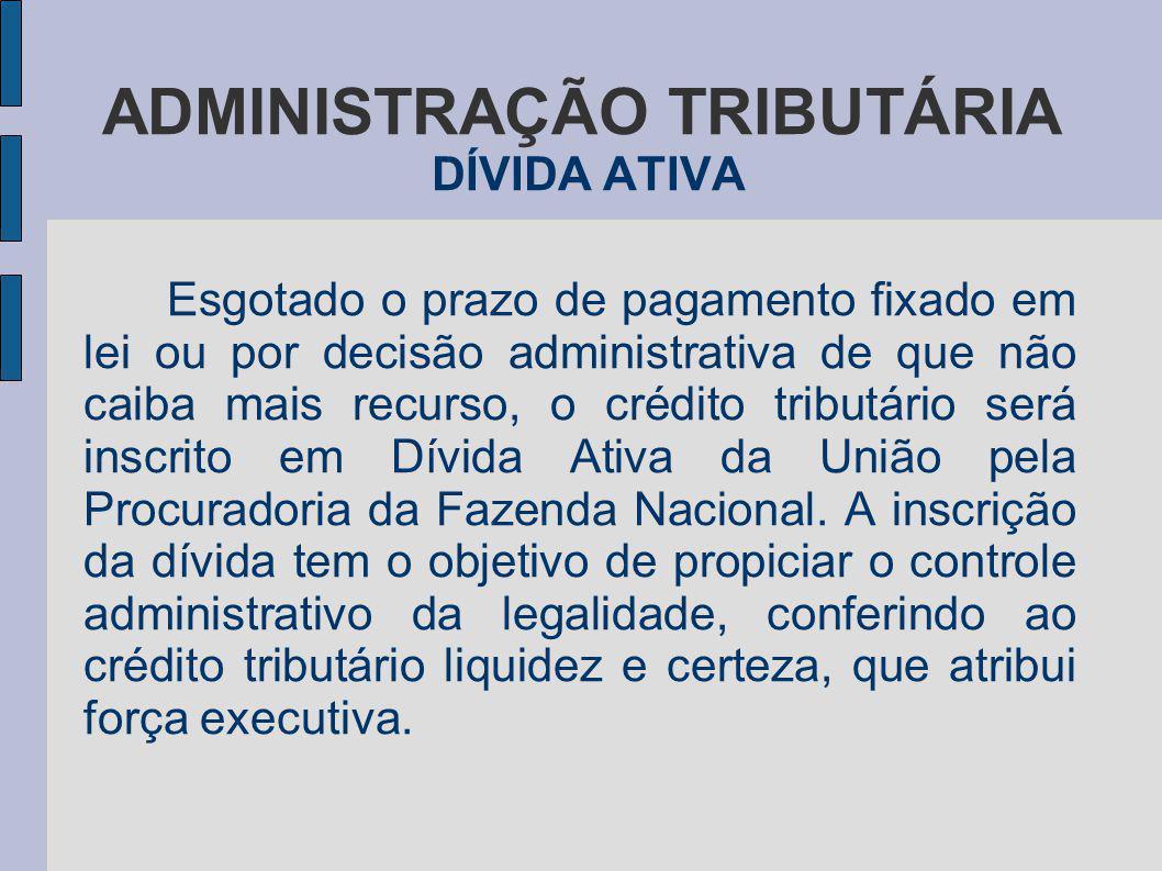 ADMINISTRAÇÃO TRIBUTÁRIA DÍVIDA ATIVA