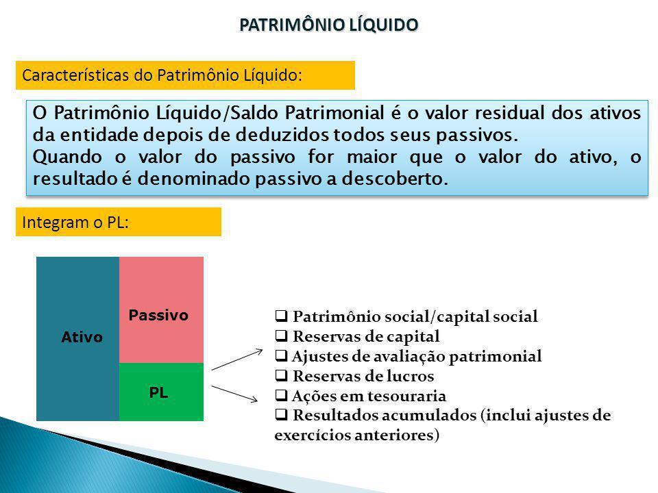 PATRIMÔNIO LÍQUIDO Características do Patrimônio Líquido: