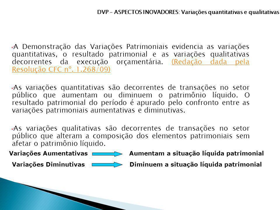 DVP – ASPECTOS INOVADORES: Variações quantitativas e qualitativas