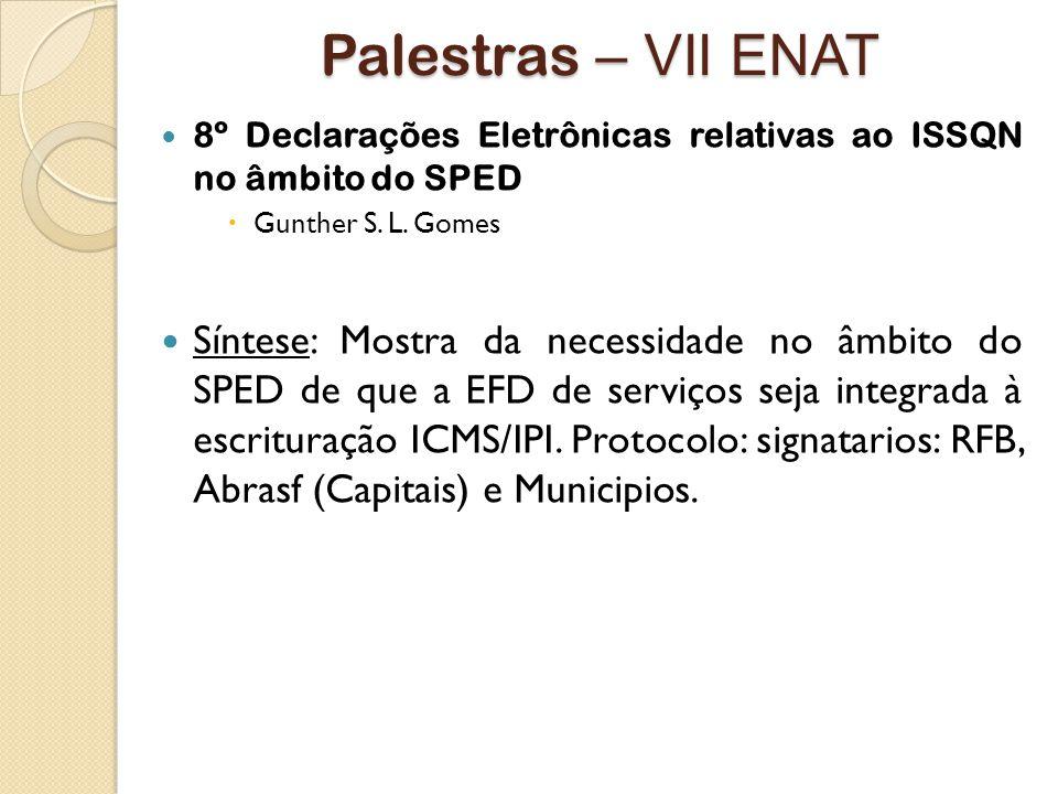 Palestras – VII ENAT 8º Declarações Eletrônicas relativas ao ISSQN no âmbito do SPED. Gunther S. L. Gomes.