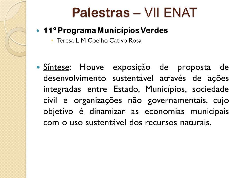 Palestras – VII ENAT 11º Programa Municípios Verdes. Teresa L M Coelho Cativo Rosa.