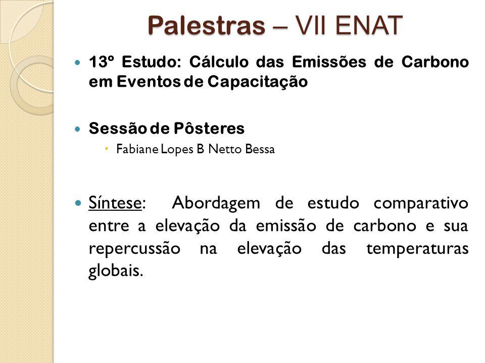 Palestras – VII ENAT 13º Estudo: Cálculo das Emissões de Carbono em Eventos de Capacitação. Sessão de Pôsteres.
