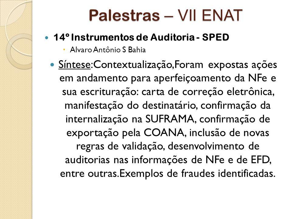 Palestras – VII ENAT 14º Instrumentos de Auditoria - SPED. Alvaro Antônio S Bahia.
