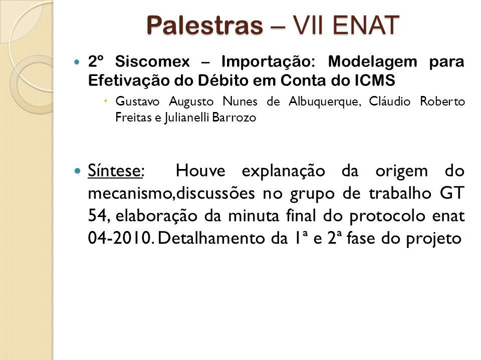 Palestras – VII ENAT 2º Siscomex – Importação: Modelagem para Efetivação do Débito em Conta do ICMS.