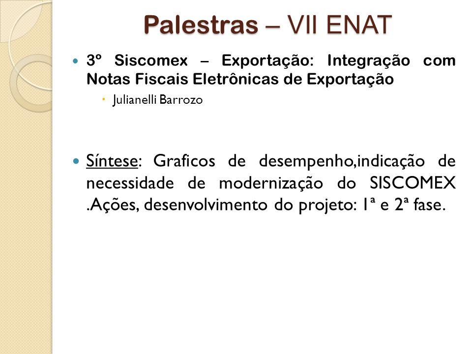 Palestras – VII ENAT 3º Siscomex – Exportação: Integração com Notas Fiscais Eletrônicas de Exportação.