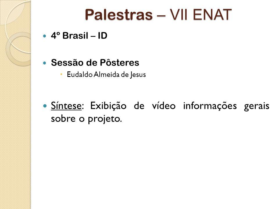Palestras – VII ENAT 4º Brasil – ID. Sessão de Pôsteres.