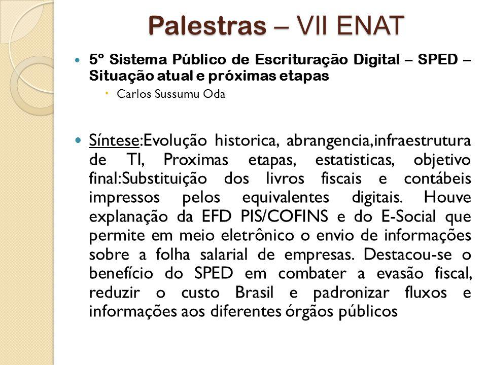 Palestras – VII ENAT 5º Sistema Público de Escrituração Digital – SPED – Situação atual e próximas etapas.