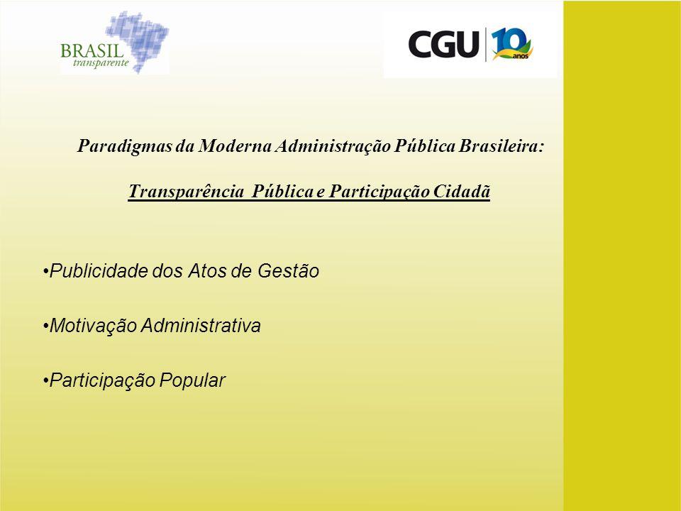 Paradigmas da Moderna Administração Pública Brasileira: Transparência Pública e Participação Cidadã