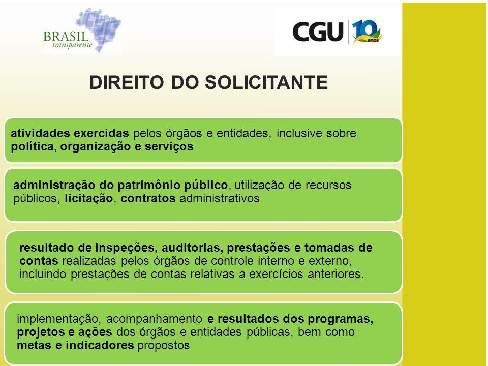 DIREITO DO SOLICITANTE
