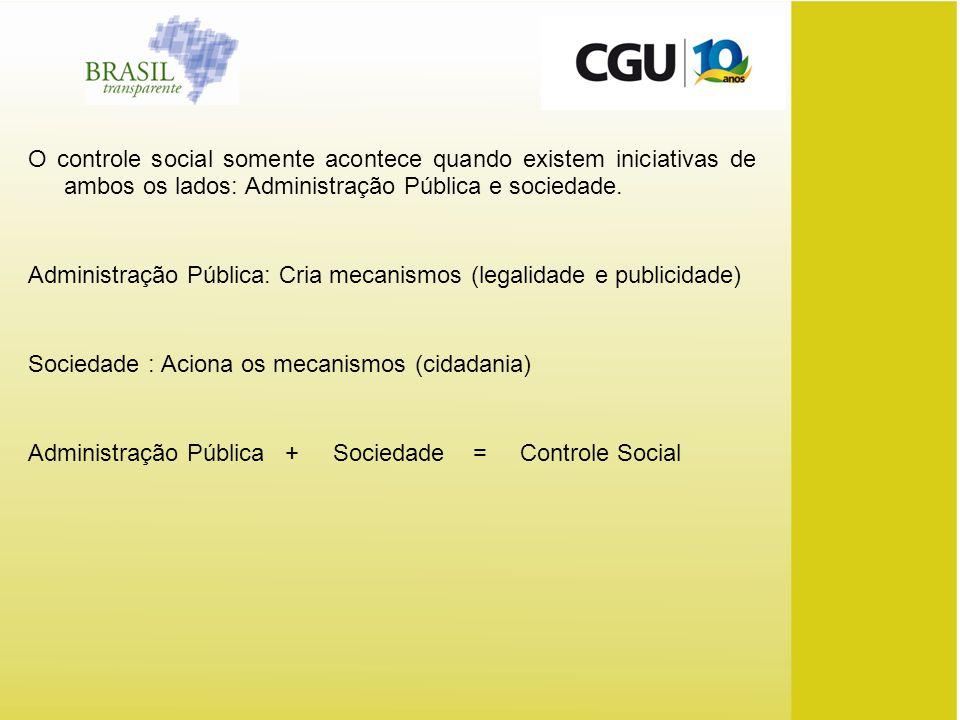 O controle social somente acontece quando existem iniciativas de ambos os lados: Administração Pública e sociedade.