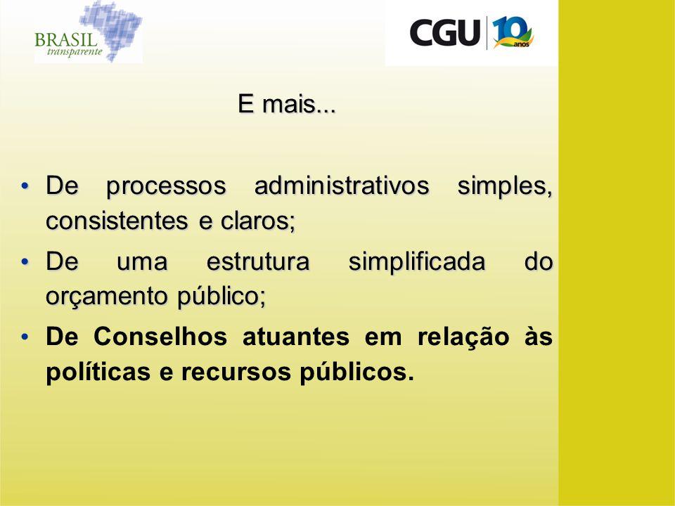 E mais... De processos administrativos simples, consistentes e claros; De uma estrutura simplificada do orçamento público;