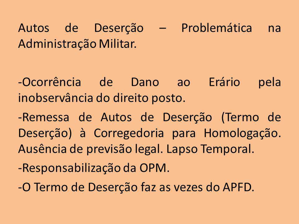 Autos de Deserção – Problemática na Administração Militar.