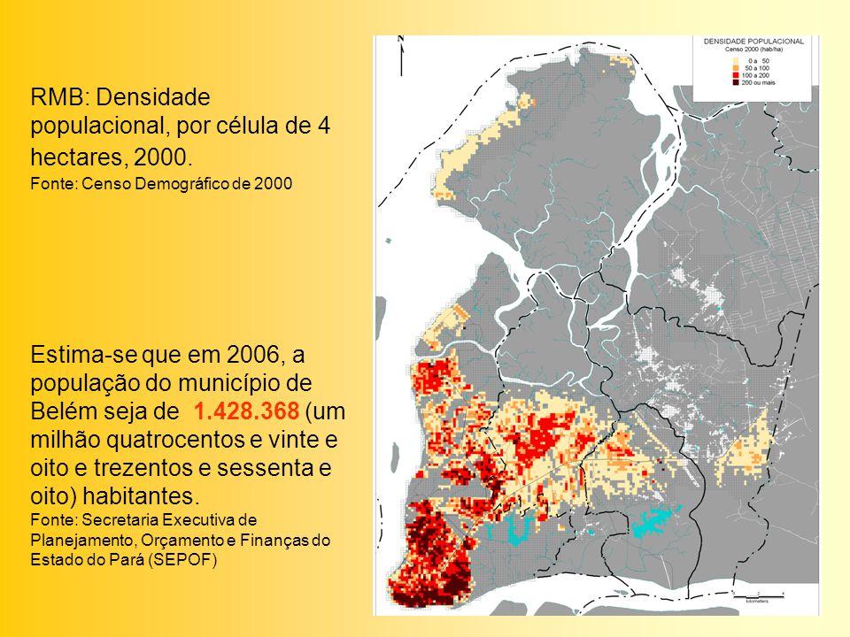 RMB: Densidade populacional, por célula de 4 hectares, 2000.