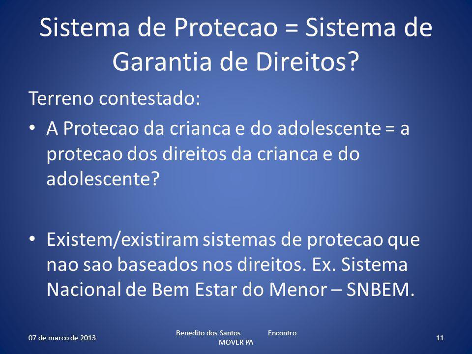Sistema de Protecao = Sistema de Garantia de Direitos