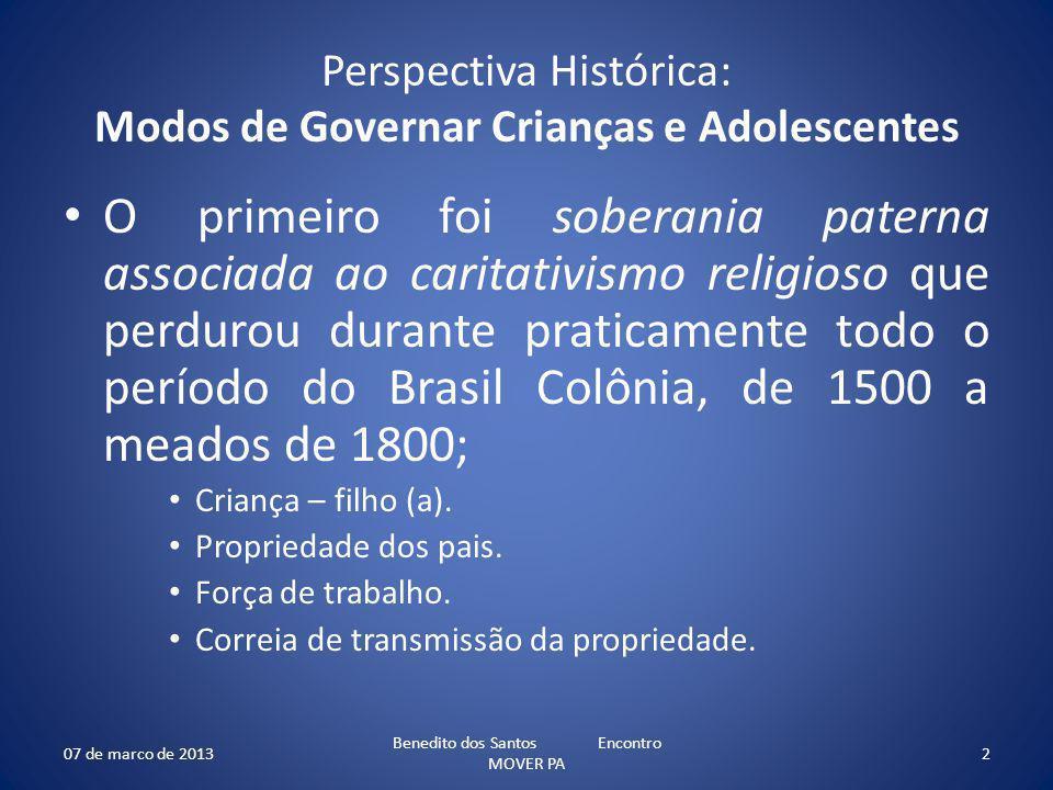 Perspectiva Histórica: Modos de Governar Crianças e Adolescentes