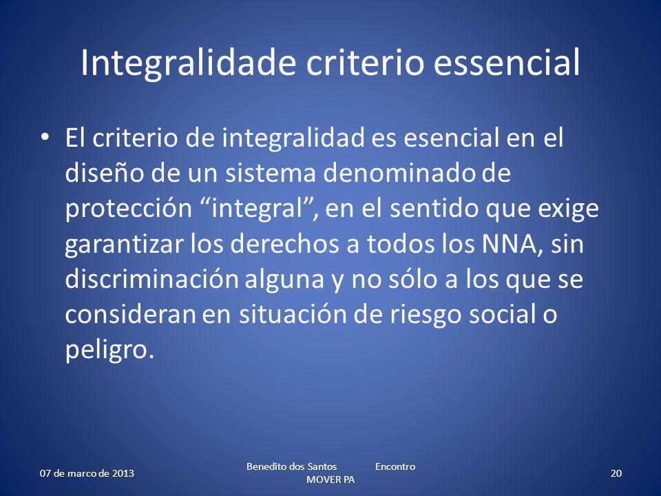 Integralidade criterio essencial