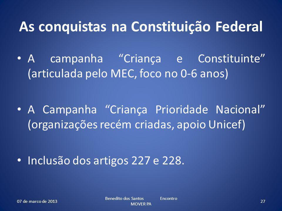As conquistas na Constituição Federal