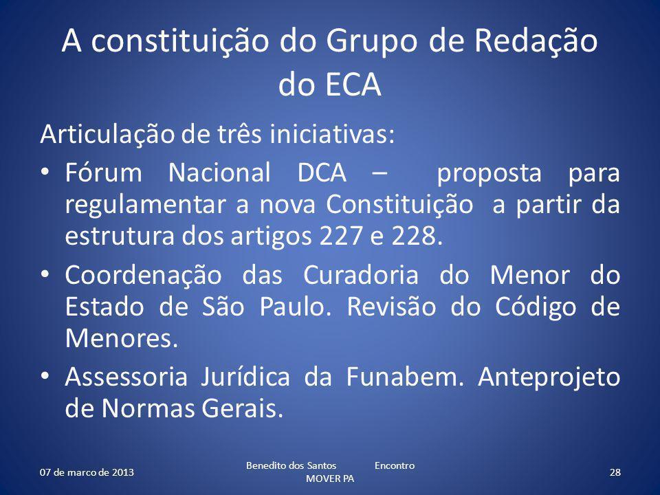 A constituição do Grupo de Redação do ECA