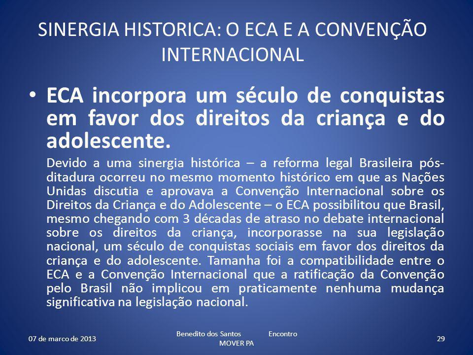 SINERGIA HISTORICA: O ECA E A CONVENÇÃO INTERNACIONAL
