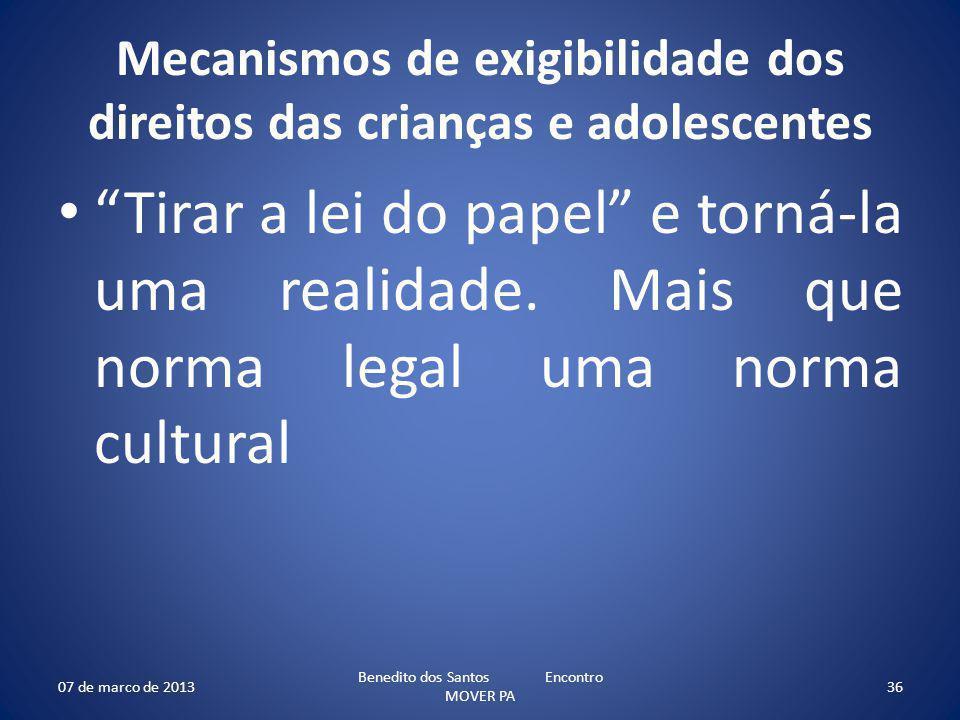 Mecanismos de exigibilidade dos direitos das crianças e adolescentes