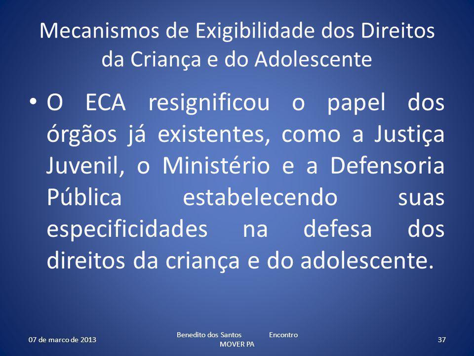 Mecanismos de Exigibilidade dos Direitos da Criança e do Adolescente