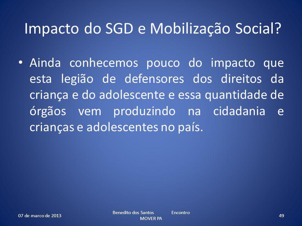 Impacto do SGD e Mobilização Social