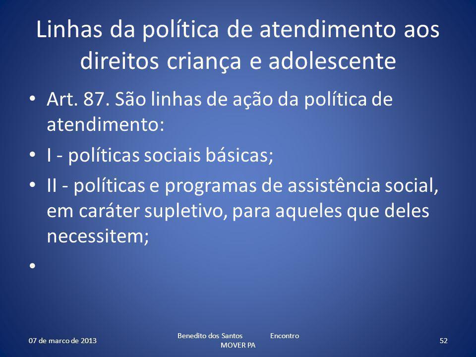 Linhas da política de atendimento aos direitos criança e adolescente