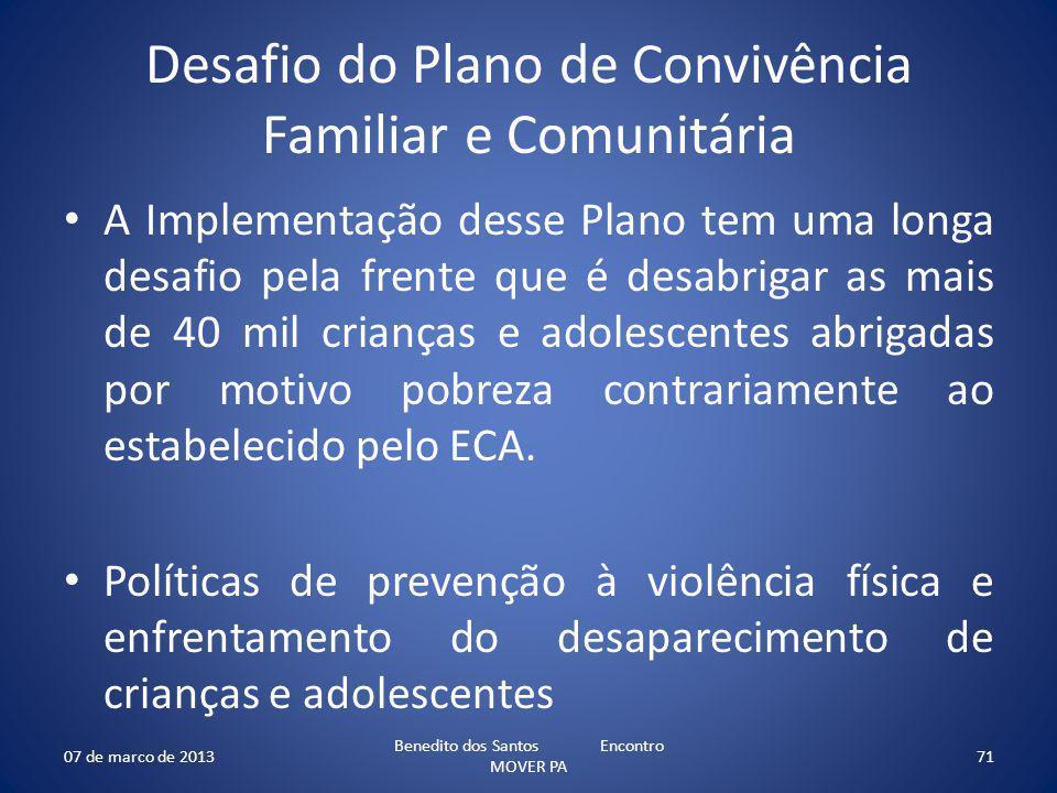 Desafio do Plano de Convivência Familiar e Comunitária