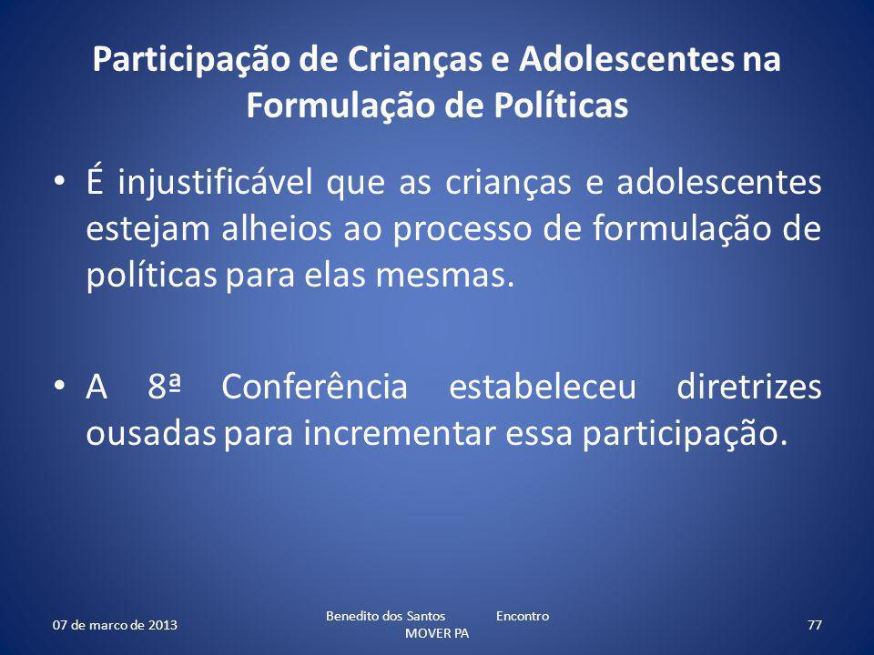 Participação de Crianças e Adolescentes na Formulação de Políticas