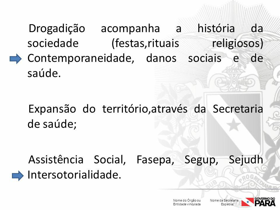 Drogadição acompanha a história da sociedade (festas,rituais religiosos) Contemporaneidade, danos sociais e de saúde.