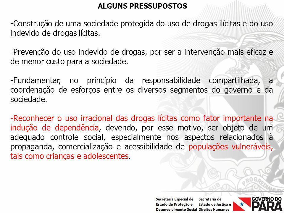 ALGUNS PRESSUPOSTOS Construção de uma sociedade protegida do uso de drogas ilícitas e do uso indevido de drogas lícitas.
