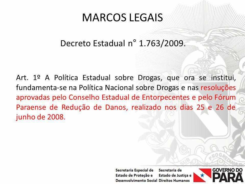MARCOS LEGAIS Decreto Estadual n° 1.763/2009.