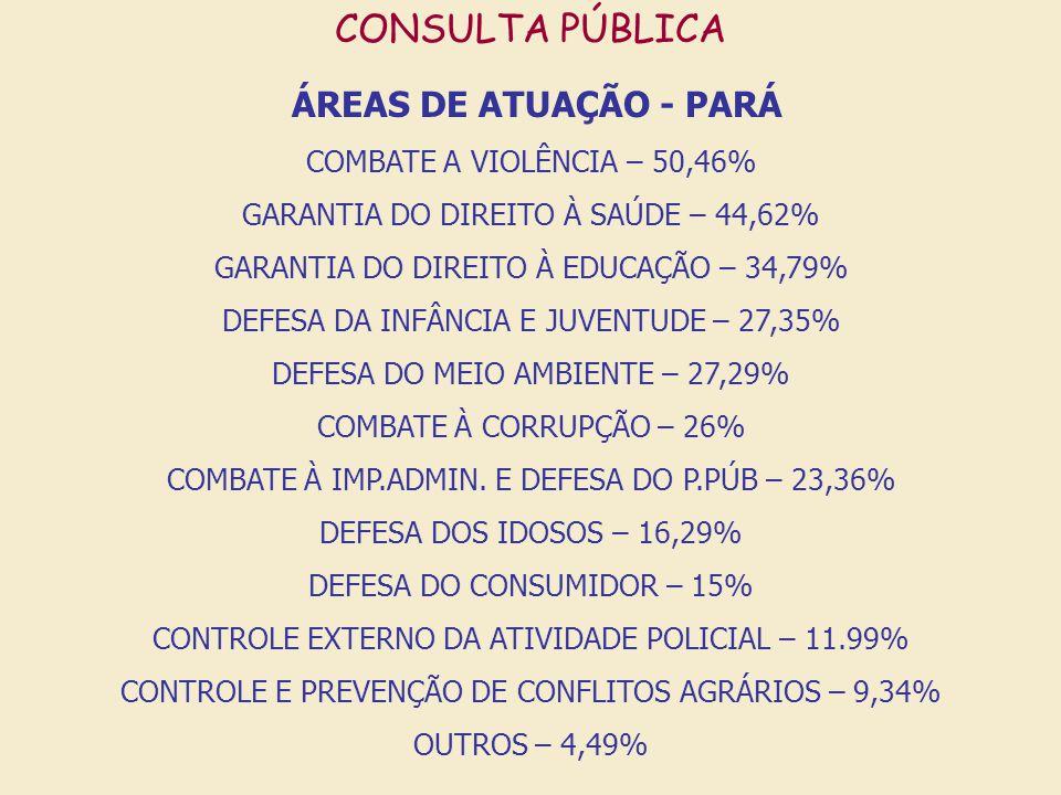 ÁREAS DE ATUAÇÃO - PARÁ CONSULTA PÚBLICA COMBATE A VIOLÊNCIA – 50,46%