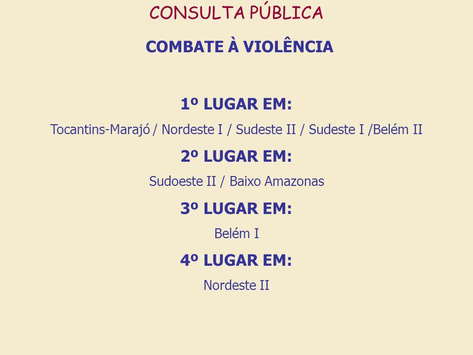 COMBATE À VIOLÊNCIA CONSULTA PÚBLICA 1º LUGAR EM: 2º LUGAR EM: