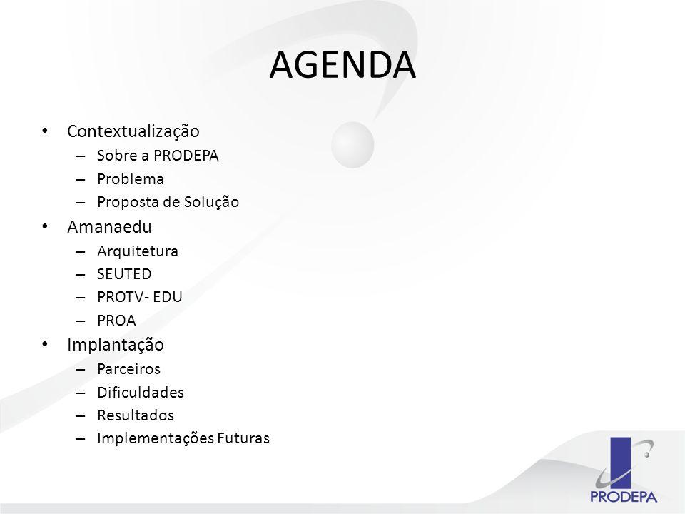 AGENDA Contextualização Amanaedu Implantação Sobre a PRODEPA Problema
