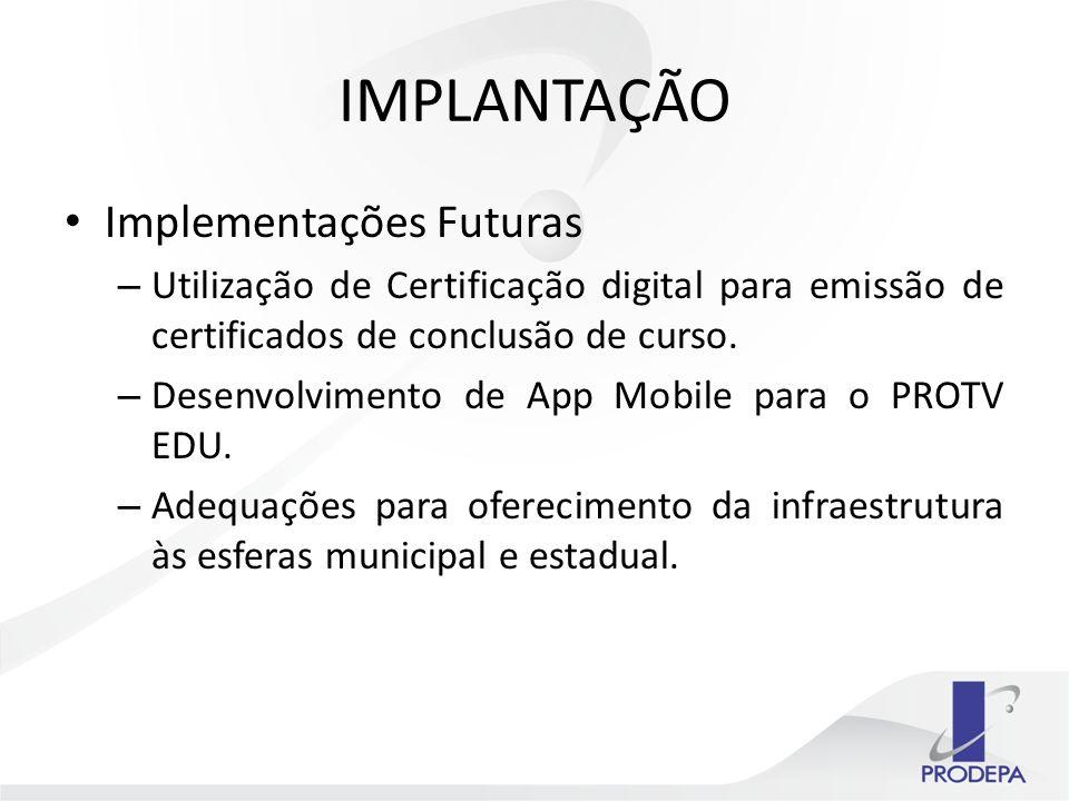 IMPLANTAÇÃO Implementações Futuras