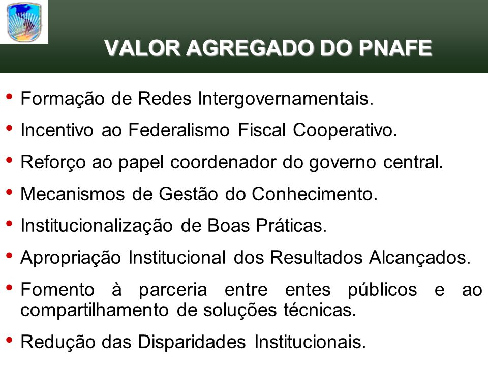 VALOR AGREGADO DO PNAFE
