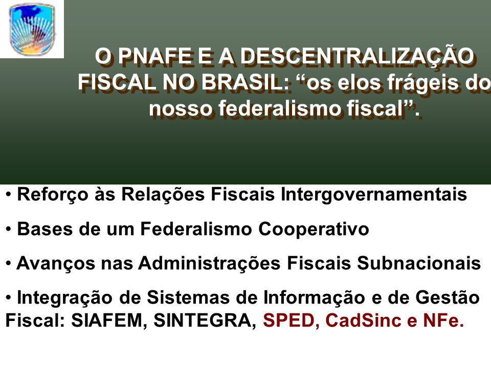 O PNAFE E A DESCENTRALIZAÇÃO FISCAL NO BRASIL: os elos frágeis do nosso federalismo fiscal .