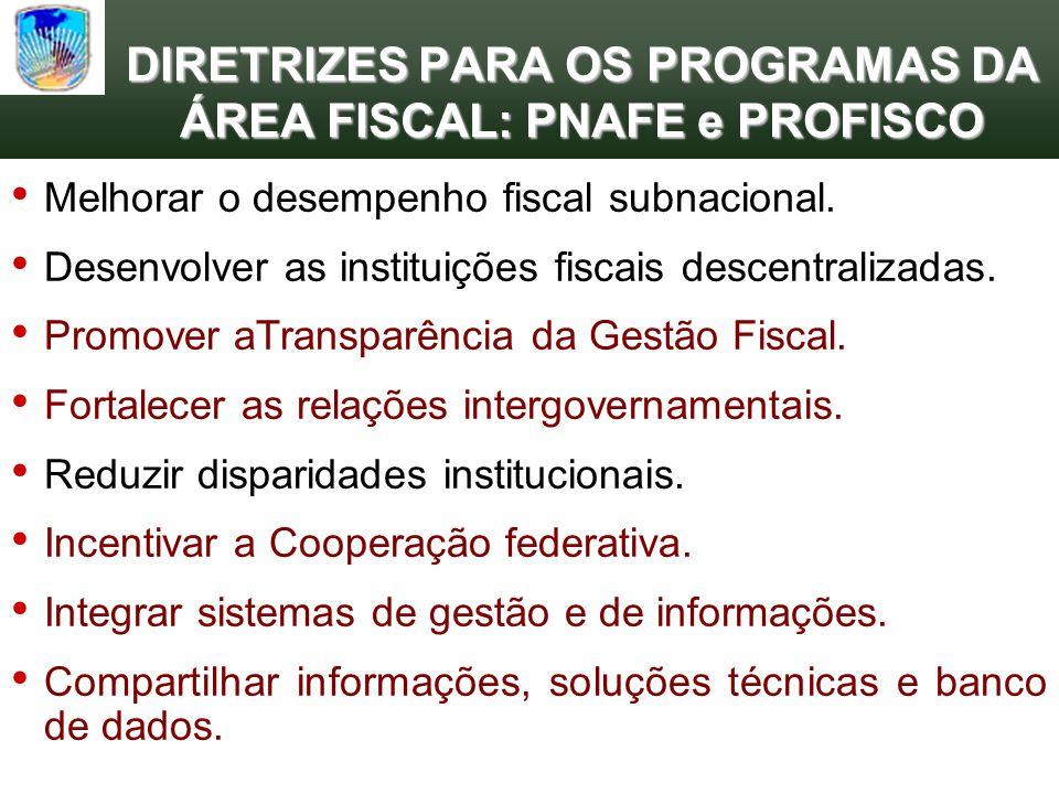 DIRETRIZES PARA OS PROGRAMAS DA ÁREA FISCAL: PNAFE e PROFISCO