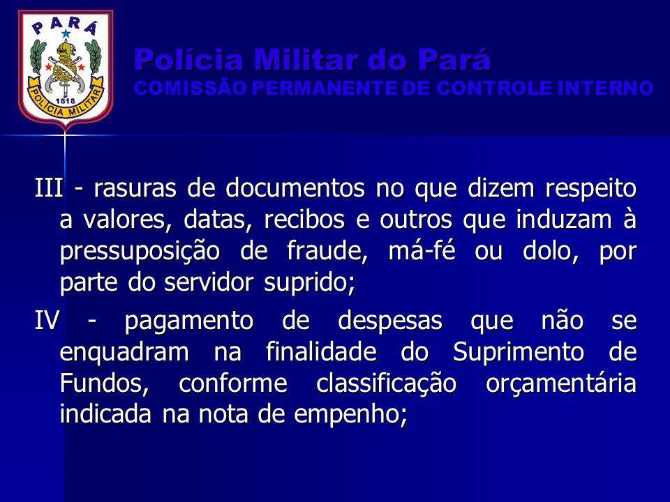 Polícia Militar do Pará COMISSÃO PERMANENTE DE CONTROLE INTERNO