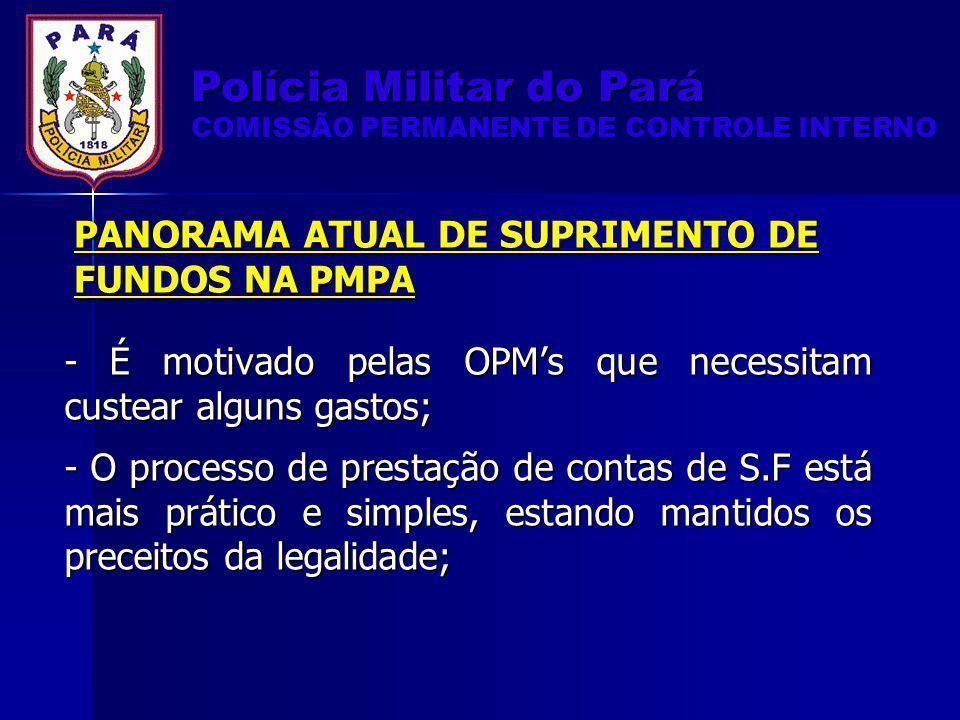 PANORAMA ATUAL DE SUPRIMENTO DE FUNDOS NA PMPA