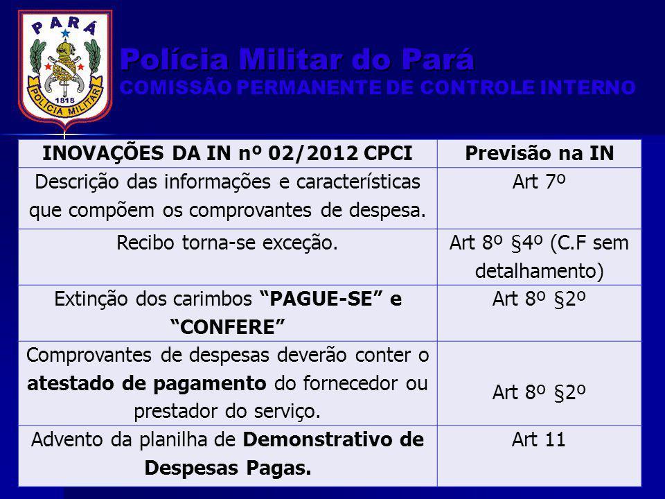 INOVAÇÕES DA IN nº 02/2012 CPCI