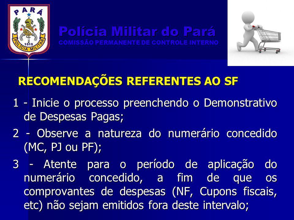RECOMENDAÇÕES REFERENTES AO SF