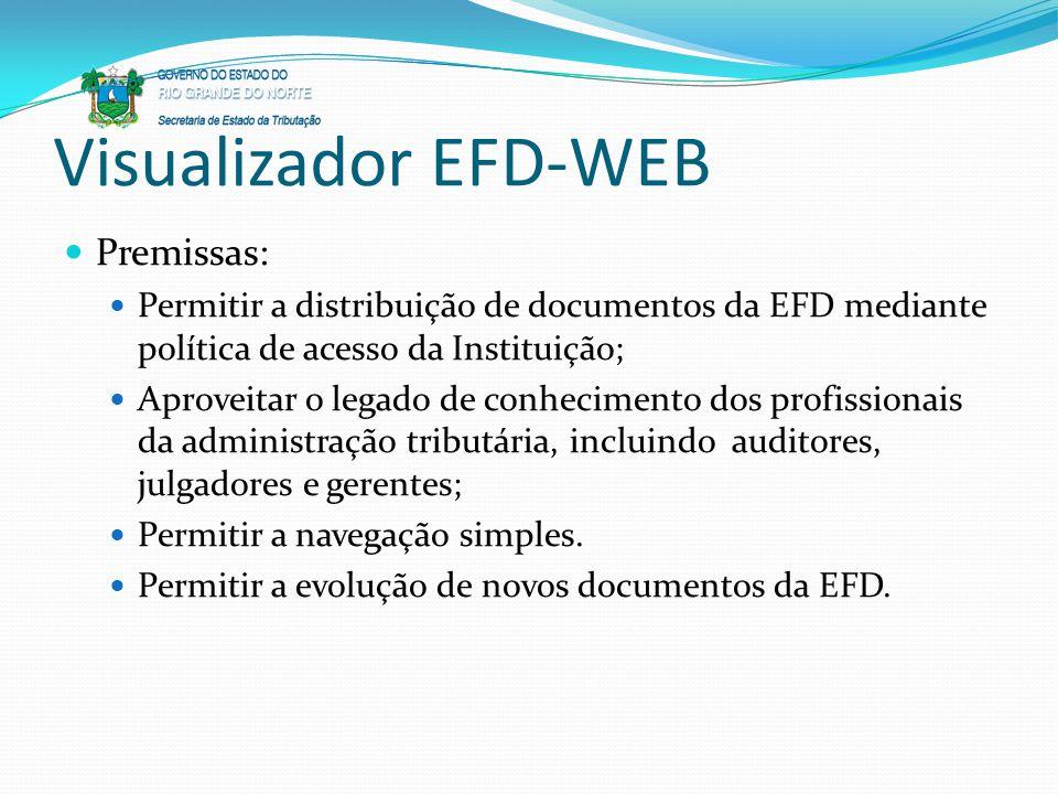 Visualizador EFD-WEB Premissas:
