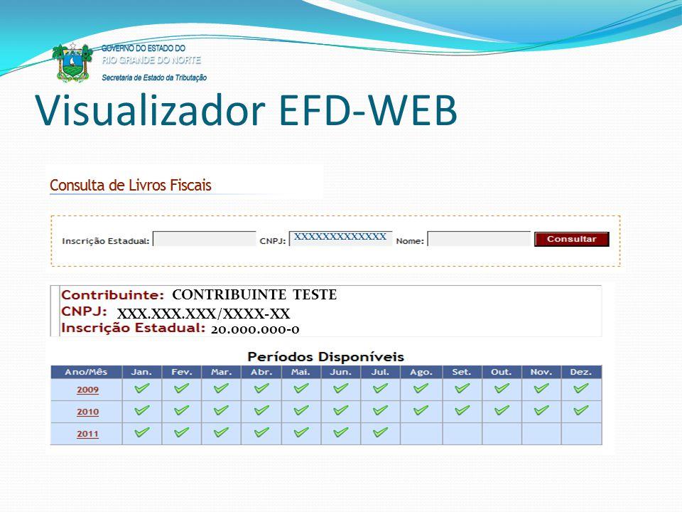 Visualizador EFD-WEB xxxxxxxxxxxxx CONTRIBUINTE TESTE