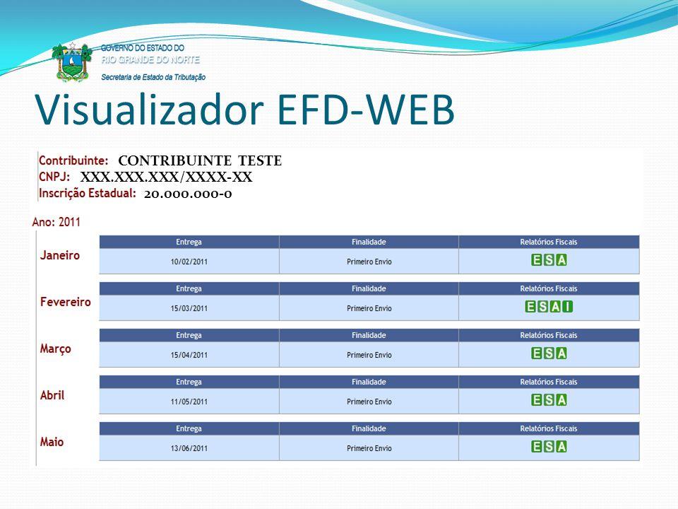Visualizador EFD-WEB CONTRIBUINTE TESTE XXX.XXX.XXX/XXXX-XX